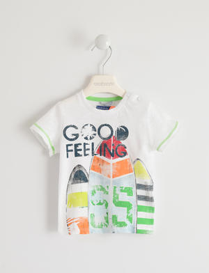 Colorata t-shirt 100% cotone stampa surf BIANCO