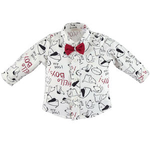 "Camicia 100% cotone stampa all over ""Hello boys"" PANNA"