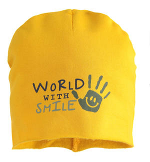 "Cappello modello cuffia in felpa ""World with smile"" GIALLO"