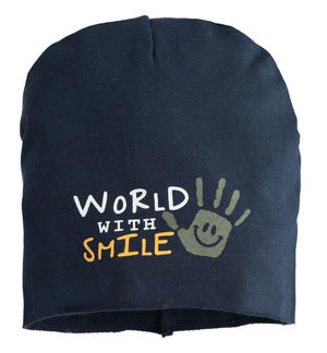 "Cappello modello cuffia in felpa ""World with smile"" BLU"