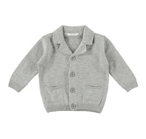 Cardigan con colletto rever dentellato in morbido tricot GRIGIO