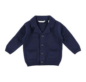 Cardigan con colletto rever dentellato in morbido tricot BLU