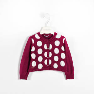 Cardigan in tricot a pois ROSSO