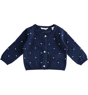 Cardigan rebecchina per neonata 100% cotone all over punto a rilievo BLU