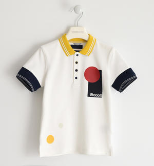 Colorata polo in piquet stretch BIANCO