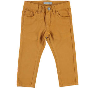 Comodo pantalone slim fit in twill stretch di cotone MARRONE