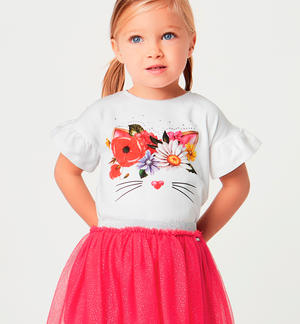 Completino t-shirt e gonna in tulle e glitter ROSSO