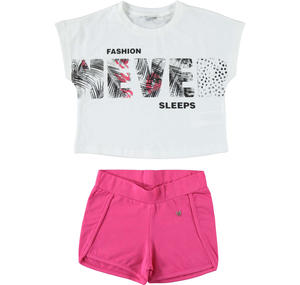 Completo sporty-chic t-shirt e shorts BIANCO