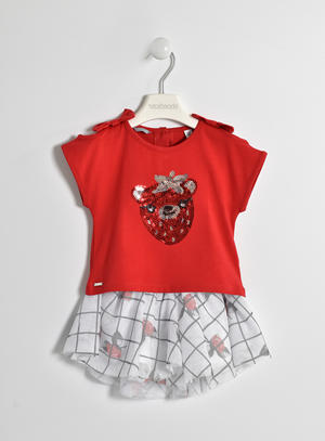Completo t-shirt con orsetto di paillettes e mini gonna floreale ROSSO