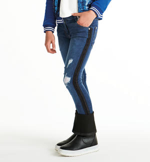 Denim stretch con rotture BLU