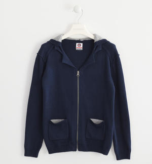 Full zip in tricot con toppe BLU