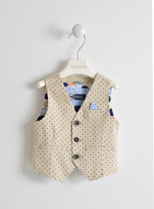 Gilet bambino in twill di cotone con fantasia all over pois BEIGE