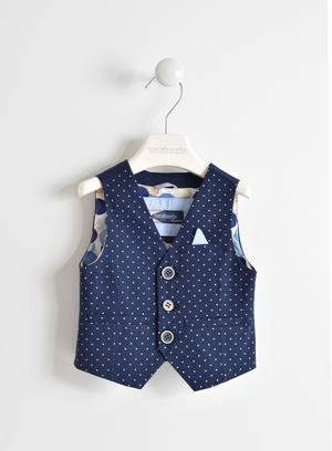 Gilet bambino in twill di cotone con fantasia all over pois BLU