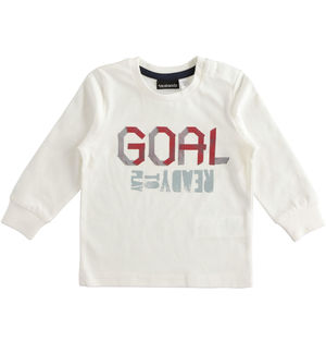 "Girocollo in jersey 100% cotone stampa ""Goal"" PANNA"