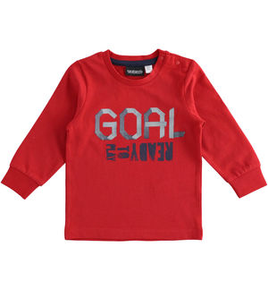 "Girocollo in jersey 100% cotone stampa ""Goal"" ROSSO"