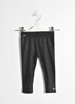 Leggings glitter in jersey stretch NERO