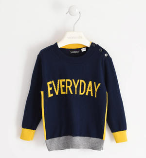 Maglia in tricot paricollo stampa Everyday BLU