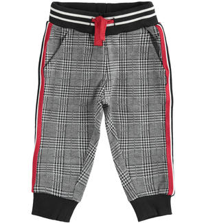 Morbido pantalone in checked jaquard con coulisse NERO