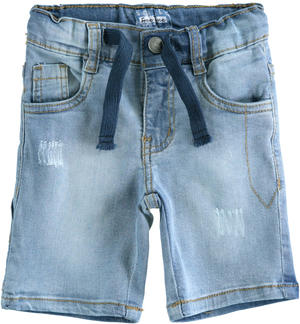Pantalone corto in denim stretch con coulisse AZZURRO