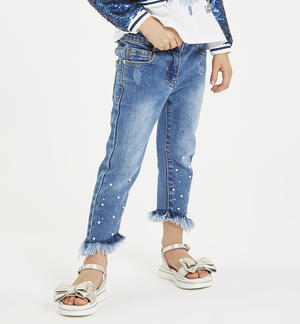 Pantalone in denim con perle e strass BLU