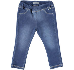 Pantalone in denim stretch con strass BLU