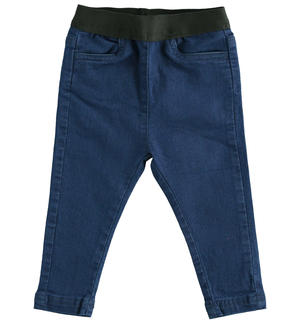 Pantalone in denim super strech con tape in vita