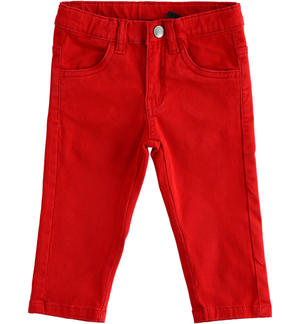 Pantalone slim fit in twill stretch ROSSO