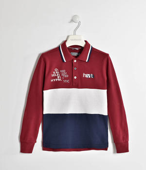 Polo in piquet stretch con bande ROSSO