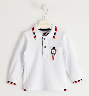 Polo in piquet stretch con toppe BIANCO
