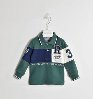 Polo stile rugby 100% cotone con badge applicate VERDE