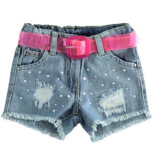 Short in denim con strass AZZURRO
