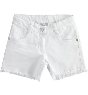 Short in twill stretch con farfalla glitter BIANCO
