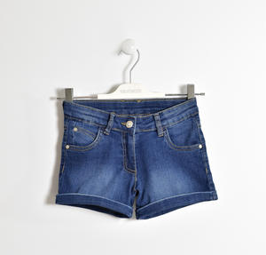 Shorts in denim stretch con rivetti con strass