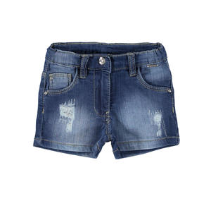 Shorts in denim stretch con strass BLU