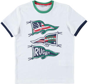 T-shirt 100% cotone tema rugby BIANCO