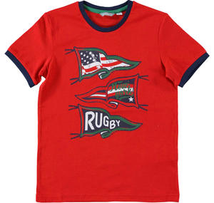 T-shirt 100% cotone tema rugby ROSSO