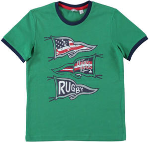 T-shirt 100% cotone tema rugby VERDE