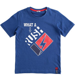 "T-shirt 100% cotone ""What a rush"" BLU"