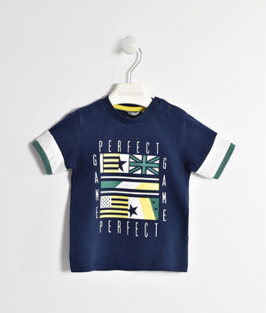 T-shirt in jersey 100% cotone con bandiere BLU