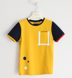 T-shirt in jersey stertch con costina colorata GIALLO