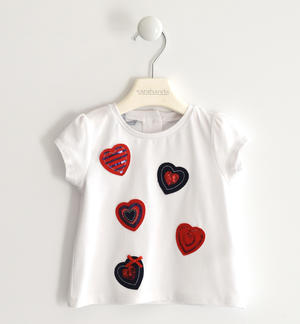 T-shirt in jersey stretch con cuori applicati BIANCO