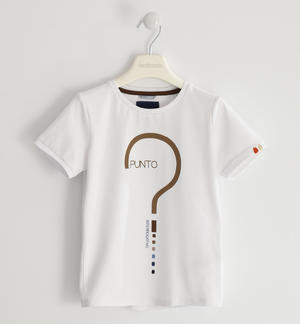 T-shirt in jersey stretch con punto interrogativo