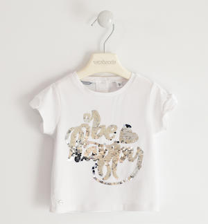 T-shirt in jersey stretch con ricamo di paillettes reversibili BIANCO