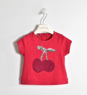 T-shirt in jersey stretch con ricamo paillettes ROSSO
