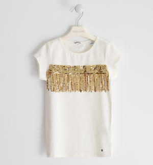 T-shirt in jersey stretch con tape di tulle e paillettes PANNA