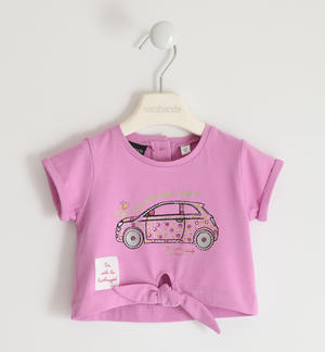 "T-shirt in jersey stretch di cotone organico con strass multicolor ""Sarabanda interpreta Fiat Nuova 500"" ROSA"