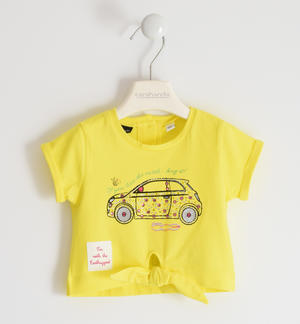 "T-shirt in jersey stretch di cotone organico con strass multicolor ""Sarabanda interpreta Fiat Nuova 500"" GIALLO"