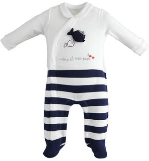 Tutina neonato con piedini in cotone stretch e colletto BLU