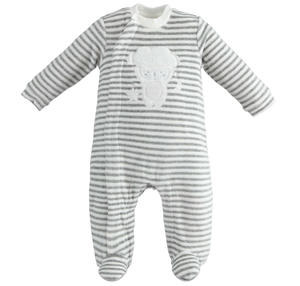 Tutina intera modello unisex neonato con motivo di righine all over GRIGIO
