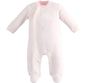 Tutina intera modello unisex neonato con motivo di righine all over ROSA